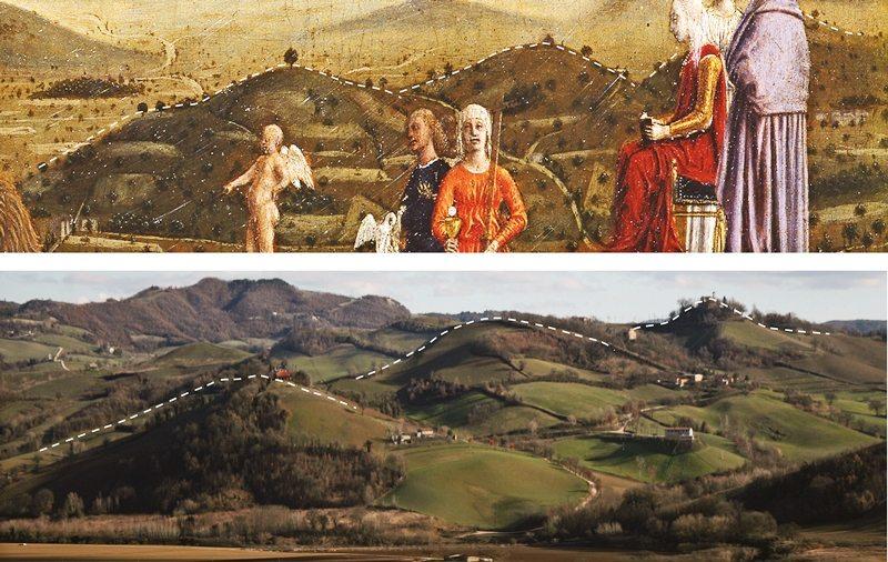 I Trionfi dei Montefeltro, opera di Piero della Francesca a confronto con il paesaggio di oggi. © Montefeltro Vedute Rinascimentali