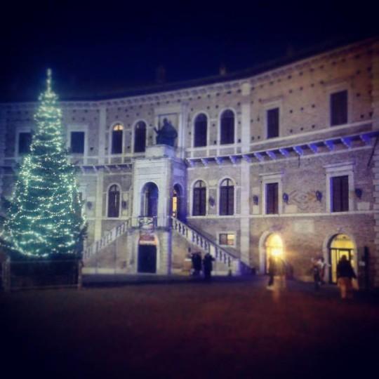 Il palazzo dei Priori di Fermo con il grande albero di Natale © alessandrogiacopetti su Instagram