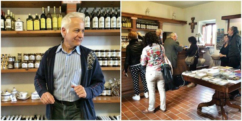 Don Maurizio nella farmacia dell'Eremo di Monte Giove, Fano.