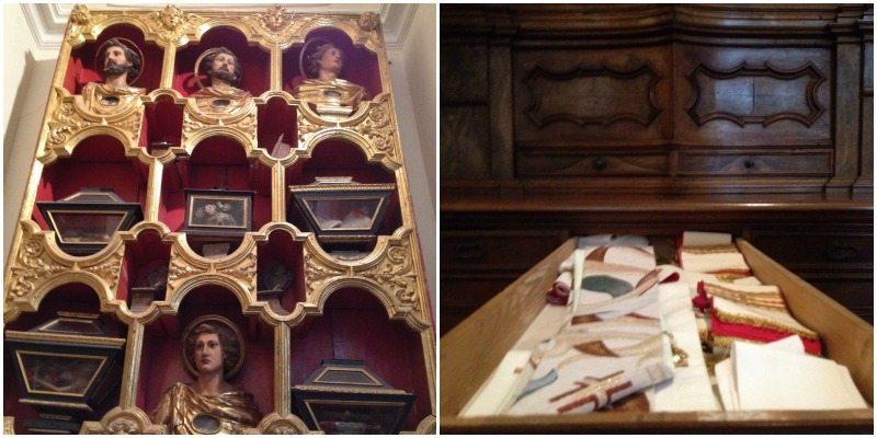 Il reliquiario e i lunghi cassetti nella Sacrestia della chiesa dell'Eremo di Monte Giove, Fano.
