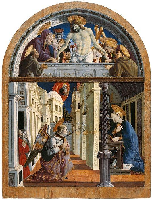 """Giovanni Angelo d'Antonio """"Annunciazione e Cristo in pietà"""" (1450-55)"""