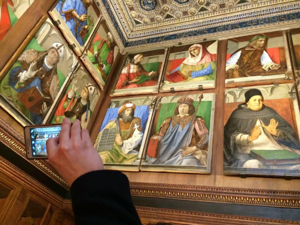 Lo Studiolo del Duca, ricostruito com'era 400 anni fa.