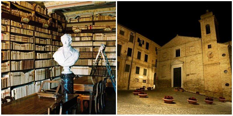 """La biblioteca di casa leopardi e La piazza della celebre poesia """"Il sabato nel villaggio"""", Recanati © Adriana Pierini"""