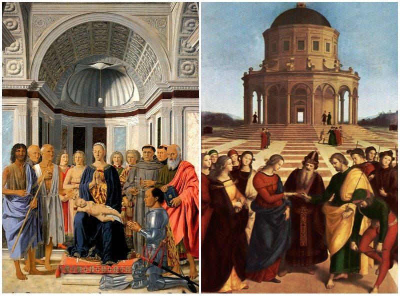 Sposalizio di Raffaello Sanzio (1504) e Pala di Brera, o Pala Montefeltro di Piero della Francesca (1472), Pinacoteca Brera a Milano
