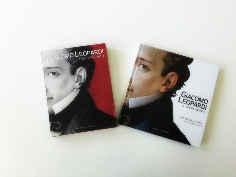 """Il cofanetto con i 4 DVD """"Giacomo Leopardi, il Poeta Infinito"""" e l'Antologia illustrata"""