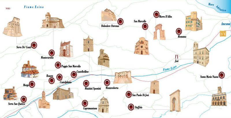 Mappa dei castelli di Jesi