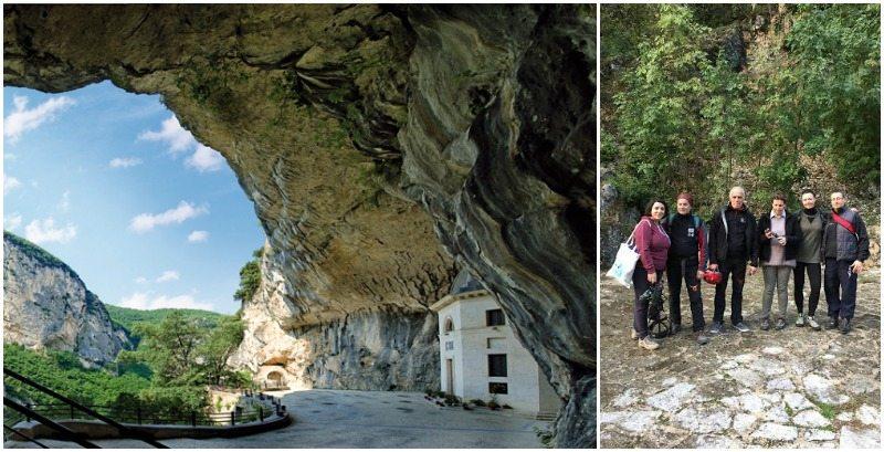 Gruppo Parco Gola della Rossa e Frasassi: Elisa Bottai, Federica Beretta e Andrea Rossetti (nella foto anche le guide del parco)