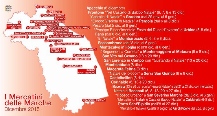 La road map dei Mercatini di Natale nelle Marche