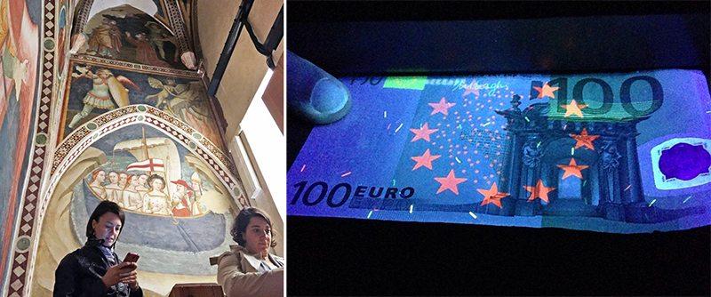 Blogger e Instagramer al lavoro dentro le Cappelle Giottesche e una banconota da 100 euro illuminata ad hoc all'interno del Museo della Carta e della Filigrana (Foto a destra di Elisa Bottai)