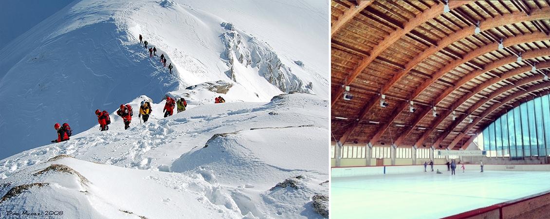 A sinistra una escursione a Ussita (Foto Dino Mecozzi da Flickr), a destra il palazzo del ghiacco (Foto maire.teresa da Instagram)