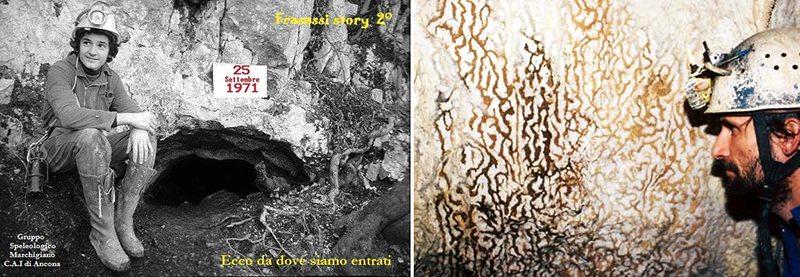 """Il foro che ha permesso di scoprire le Grotte di Frasassi e, a destra, la caratteristica delle """"pelli di leopardo"""" (Foto da www.frasassigsm.it)"""