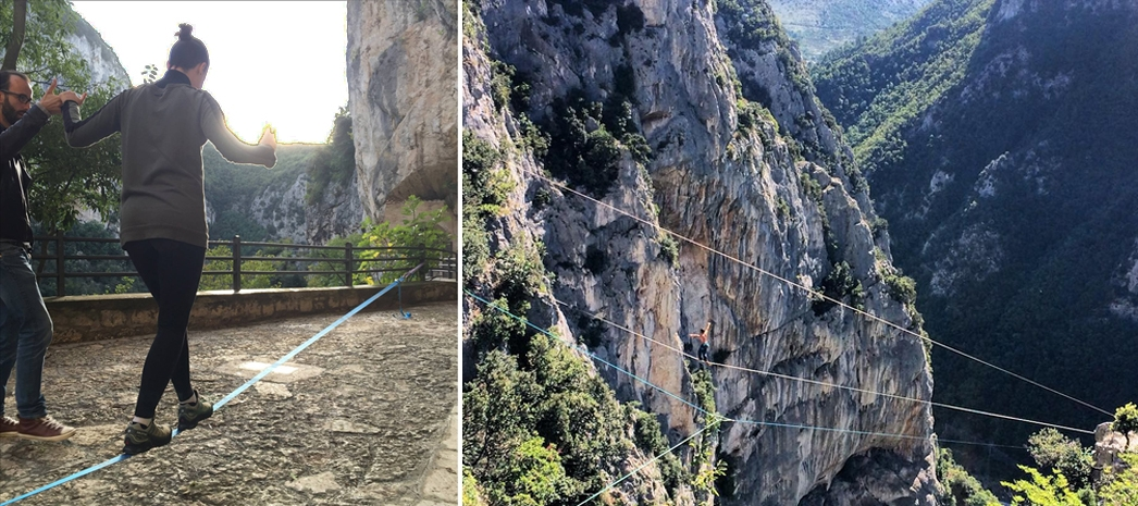 La blogger Federica Beretta prova a mantenere l'equilibrio aiutata da Paolo Bacchi e, a destra, il Frasassi Climbing Festival (Foto giorgi.magri da Instagram)