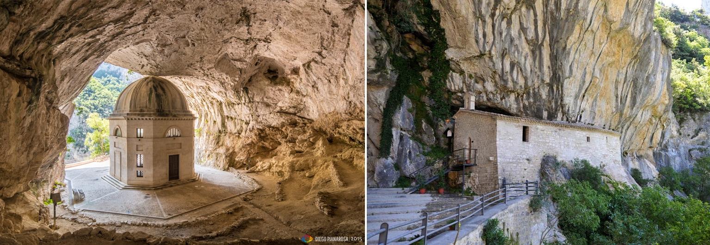 Il Tempietto del Valadier (Foto Diego Pianarosa da Flickr) e il monastero Infra Saxa (Foto da www.turismo.comunedigenga.it)