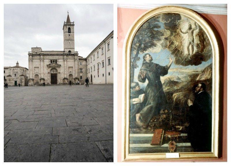 """Piazza Arringo e l'opera di Tiziano """"San Francesco riceve le stigmate"""" , Ascoli Piceno"""