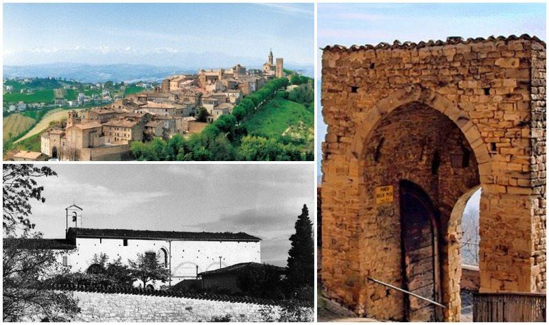 Un veduta di Mogliano, il Chiesa e Convento San Salvatore in Colpersito a San Severino Marche e l'arco di Penna San Giovanni (MC)