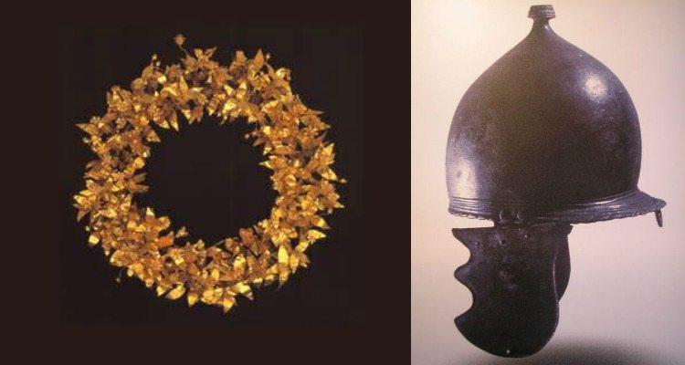 elmo di montefortino e una corona aurea