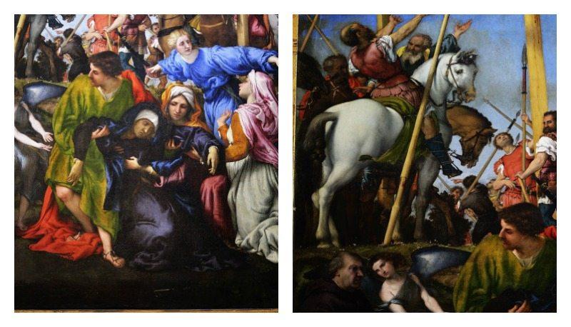 L. Lotto, Crocefisisone, particolare della folla ai piedi della Croce e Il gioco di colori dei personaggi ai piedi della Croce di Cristo