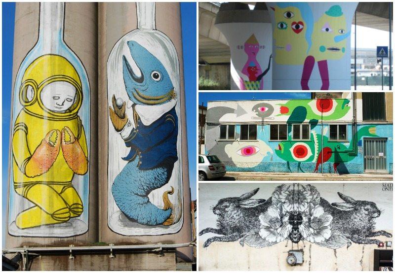 Alcune opere di street art al porto di Ancona  ©  MAC Manifestazioni Artistiche Contemporanee