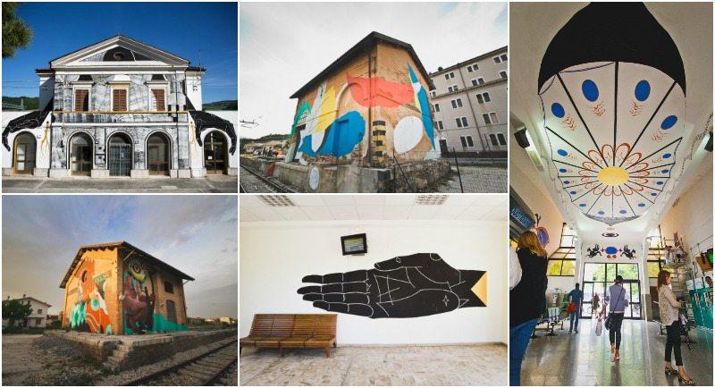 Alcune opere di street art nelle stazioni ferroviarie di Serra San Quirico, Castelbellino, Castelplanio, Jesi © MAC Manifestazioni Artistiche Contemporanee