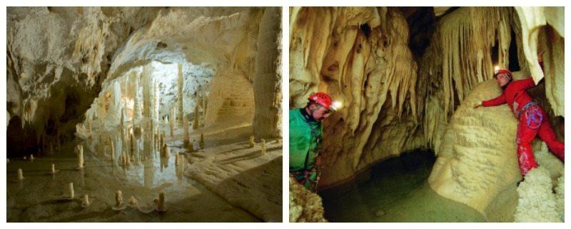 Grotte di Frasassi (foto © Piero Principi) e il percorso speleologico.