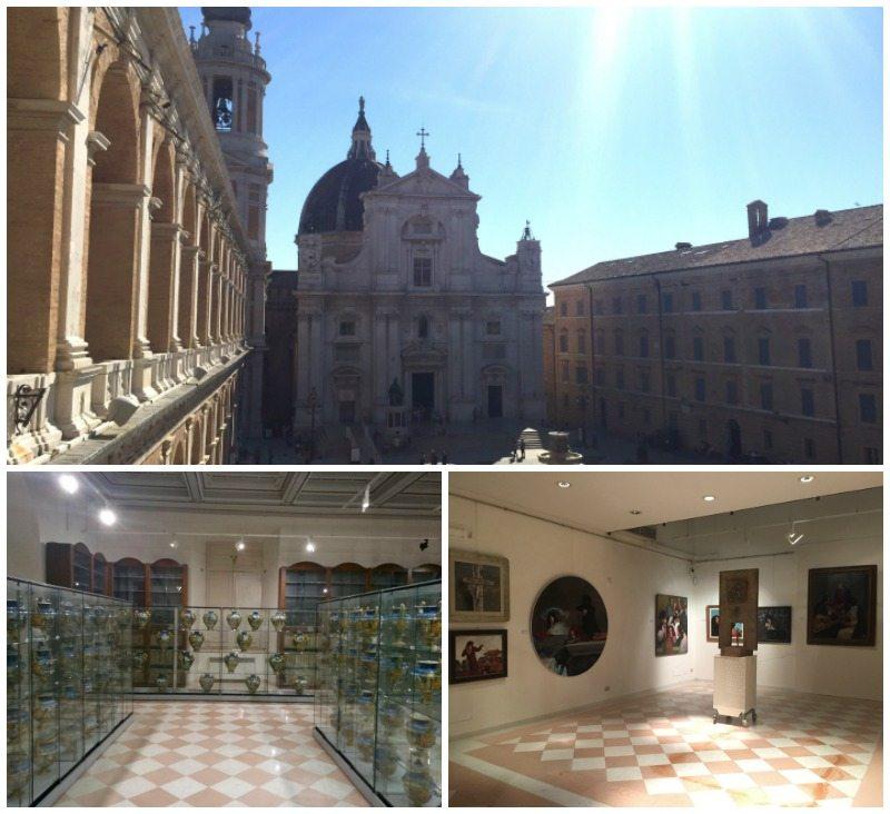 La piazza principale con la Basilica della Santa Casa e alcune sale espositive del Museo Antico Tesoro, Loreto