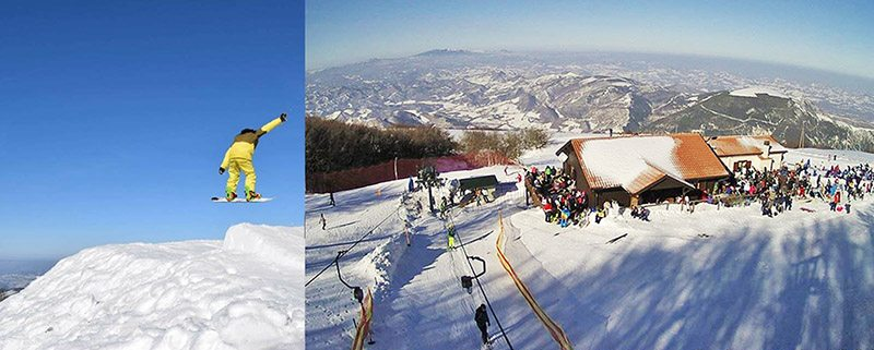 Monte Nerone (foto a sinistra: © Mattia Bartoccetti by Fb - foto a destra: © Sciovie Monte Nerone by Fb)