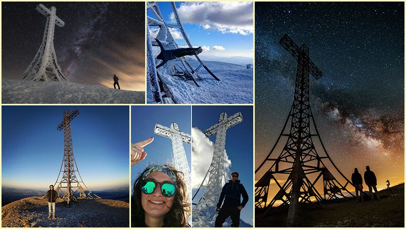 Un collage delle foto scattate a quota 1701 prese dai Facebook e Instagram