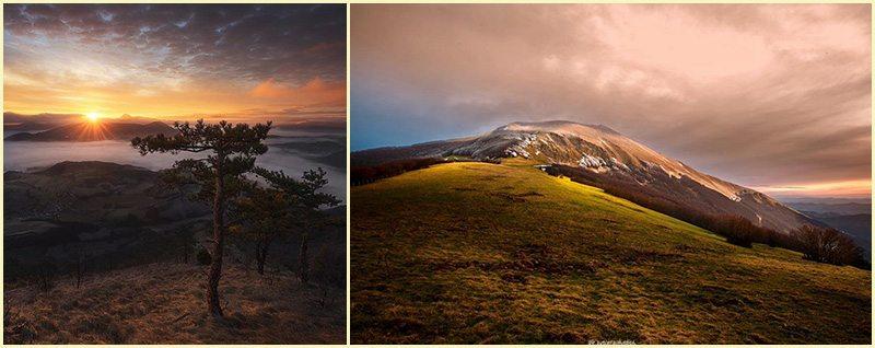 Il Catria (foto a sinistra @giovannini_jonathan by Instagram, foto a destra @mactarini by Instagram)