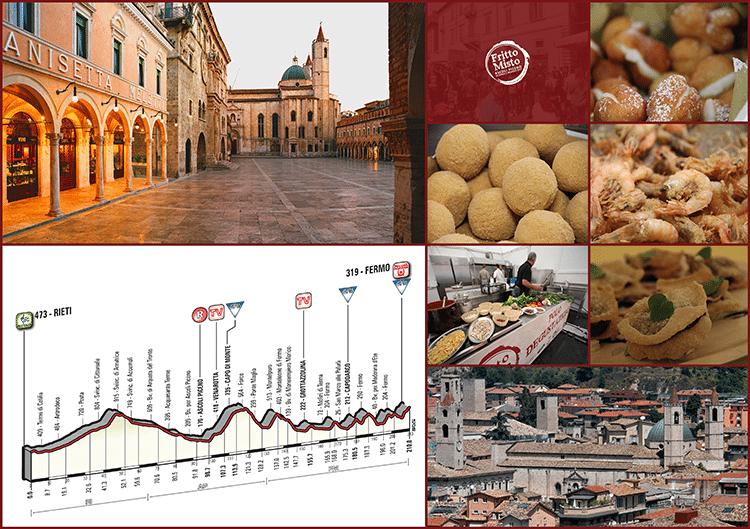 """Piazza del Popolo, alcune immagini tratte dal sito """"Fritto Misto"""" ©, una veduta di Ascoli Piceno (Foto © Spot) e il percorso della tappa del 12 marzo"""