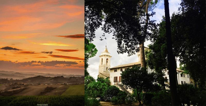 Uno spettacolare tramonto scattato da @mactarini (by Instagram) da Polverigi e Villa Nappi, sempre a Polverigi (foto @giuliustrapes by Instagram)