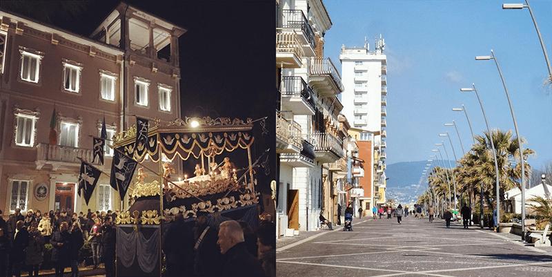 Porto Recanati: a sinistra la bara , a destra...