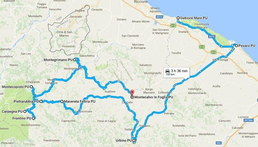 Itinerario in camper - da gabicce mare a montecalvo in foglia