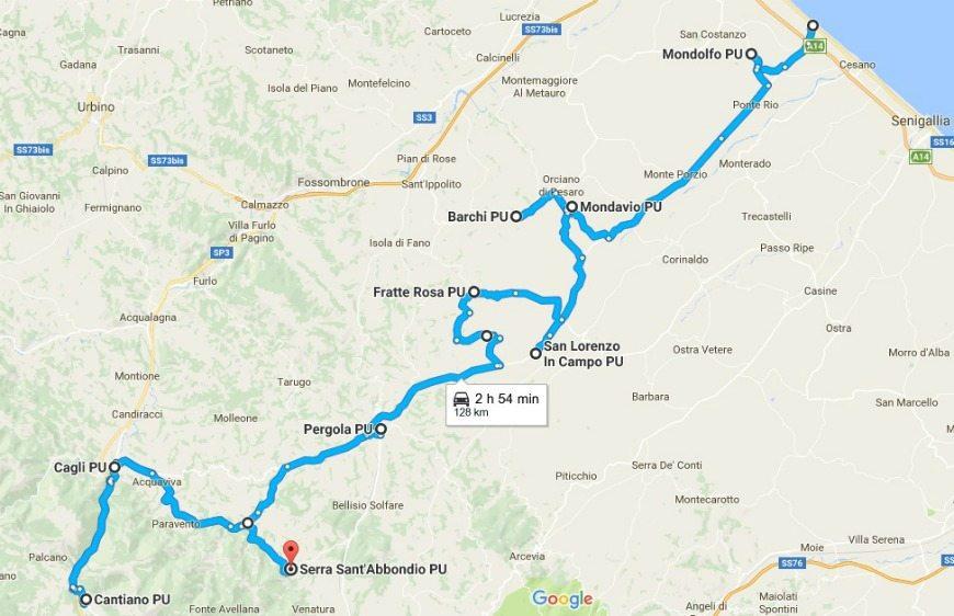 Itinerario in camper - da marotta a serra sant'abbondio
