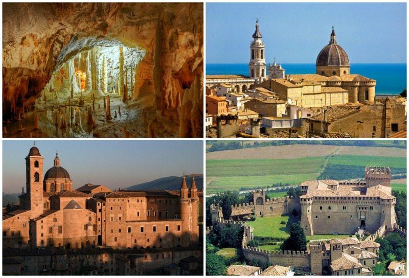 In senso orario: le Grotte di Frasassi, la Basilica di Loreto, Palazzo Ducale a Urbino e il Castello di Gradara