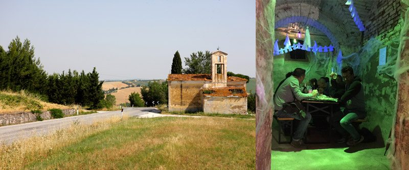 Le campagne intorno a Ostra (foto @ Sergio Ramazzotti) e, a destra, un momento della Notte degli Sprevengoli (Foto © La Notte Degli Sprevengoli, by Facebook)