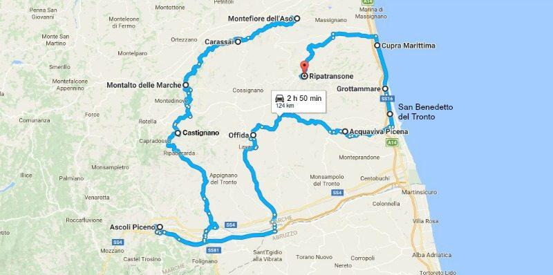 itinerario ascoli piceno camper