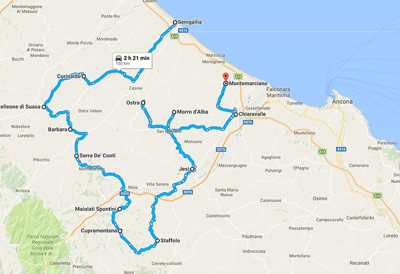 Itinerario 1- Le Marche in camper