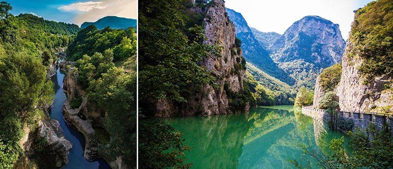 Le Marmitte dei Giganti (foto @tmc_photographer da Instagram) e, a destra, la suggestiva Gola del Furlo (foto ©Stefania Cimarelli)