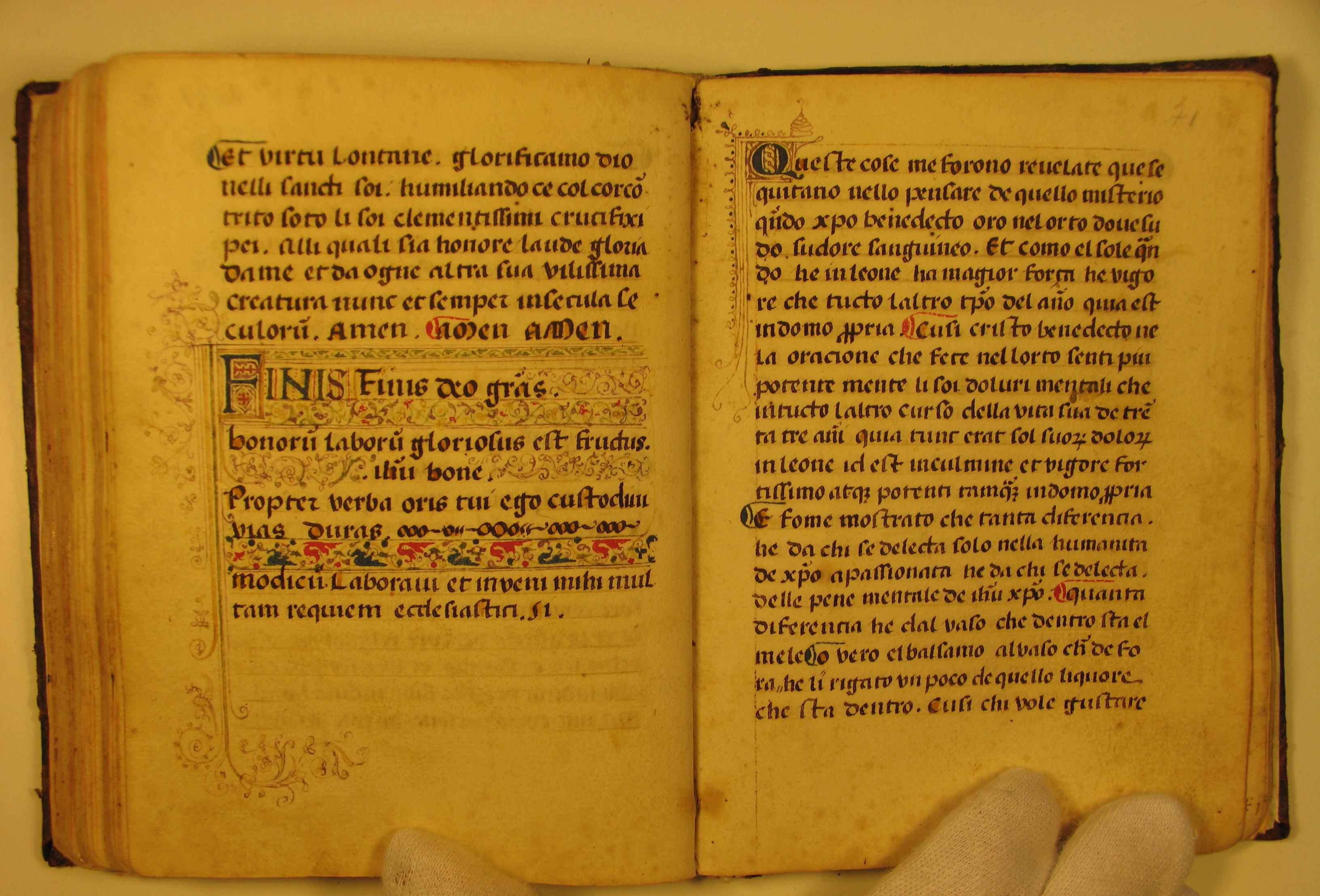 "Manoscritto ""Vita spirituale"", Camerino, Monastero S. Chiara"