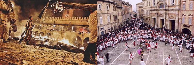 Alcune scene del carnevale offidano (foto a sinistra di @casafrankie da Instagram)