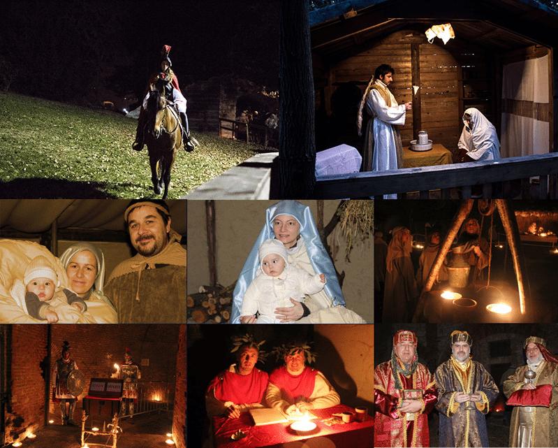 Alcune scene del presepe di Pietralacroce di Ancona (Foto tratte da www.presepeviventecandia.it)