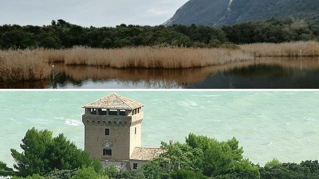 La baia di Portonovo: il Lago Grande e la Torre Clementina