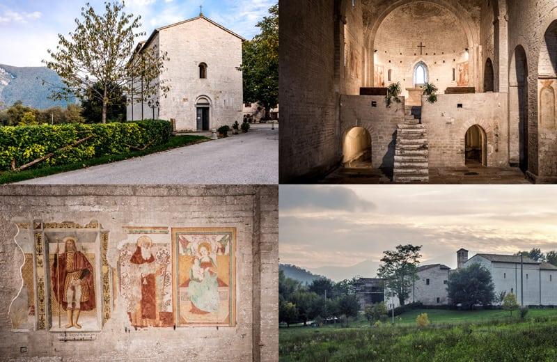 Quattro immagini rappresentanti l'Abbazia di san Vincenzo al Furlo - Acqualagna photowlak
