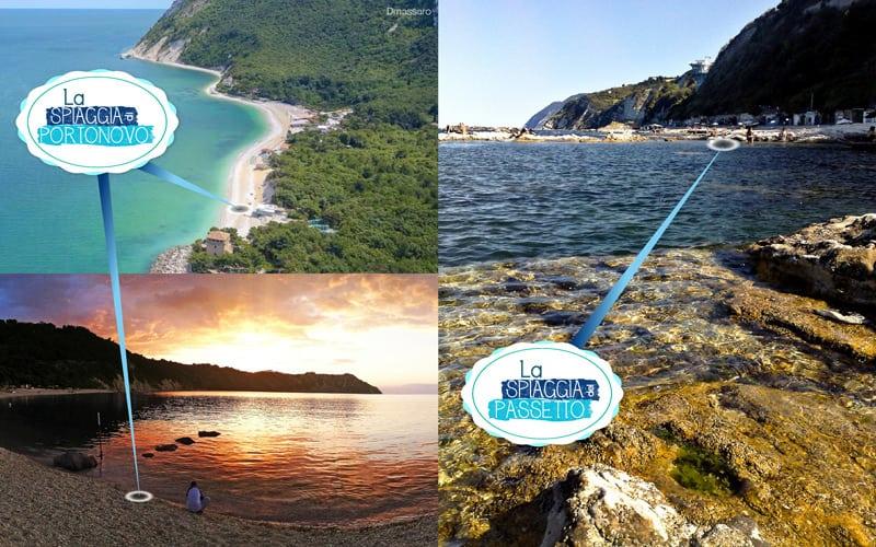 La spiaggia di Portonovo e la spiaggia del Passetto: collage di tre immagini