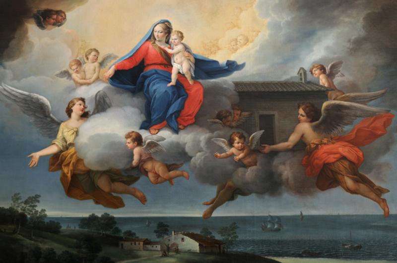 Affresco Traslazione Santa Casa di Loeto con la Madonna portata in volo dagli angeli