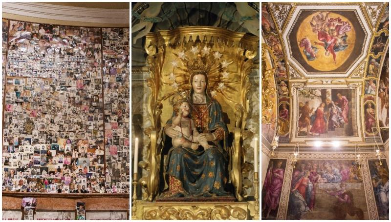 Ex voto, madonna in trono e ciclo pittorico di Bonfini