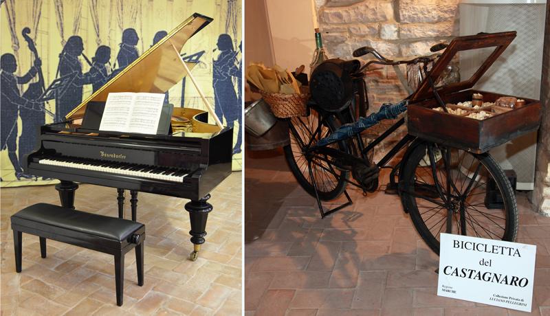 A sinistra un pianoforte, a destra una anticpa bicicletta