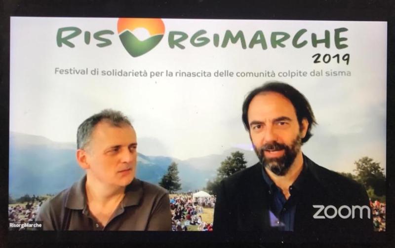 Gianbattista Tofoni  e Neri Marcorè alla conferenza stampa di lancio di RisorgiMarche 2019